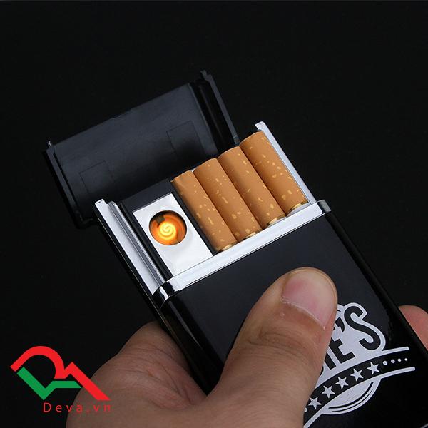 hộp đựng thuốc lá kiêm bật lửa điện usb sạc điện